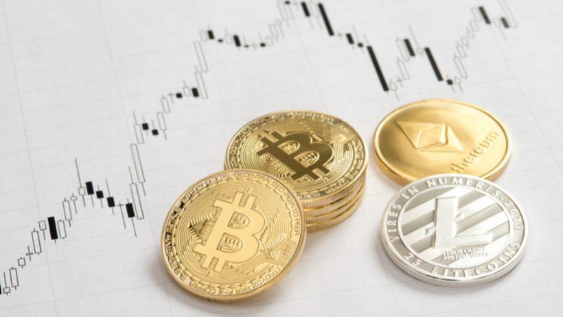 Preisentwicklung und Kurschart mit den Coins der Kryptowährungen von Bitcoin, Litecoin und Ethereum